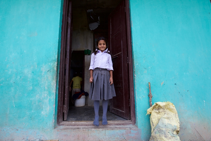 Yogendra Puri's eldest daughter Esther in her school uniform. Photo Credit: Mithila Jariwala