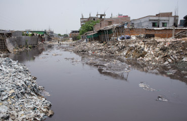 Dhaka's Hazaribagh area, widely known for its tannery industry, has been listed as one of the top 10 polluted places on earth by two international research organizations. At least 160,000 people have become victims of pollution due to the presence of toxic chemicals, mainly chromium. Tanneries in the city's Hazaribagh area discharge more than 30,000 square meters of liquid wastes every day through this cannel. These harmful wastes, including chromium, lead, sulphur, ammonium, salt and other materials are severely polluting the capital city and the river Buriganga, which is considered to be Dhaka's lifeline.