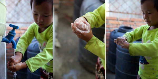 Rasmina demonstrates how she now washes her hands with soap after recovering from typhoid.