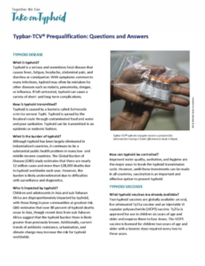 Typbar-TCV® Prequalification: Questions and Answers - Take on Typhoid