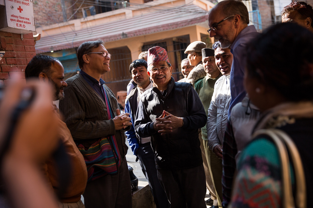 Local community leaders displayed excitement for the typhoid vaccination trial in Lalitpur District. Typhoid results in nearly 12 million cases and more than 128,000 deaths globally each year. Countries like Nepal are implementing new preventative strategies to control the disease that most commonly impacts poor communities.