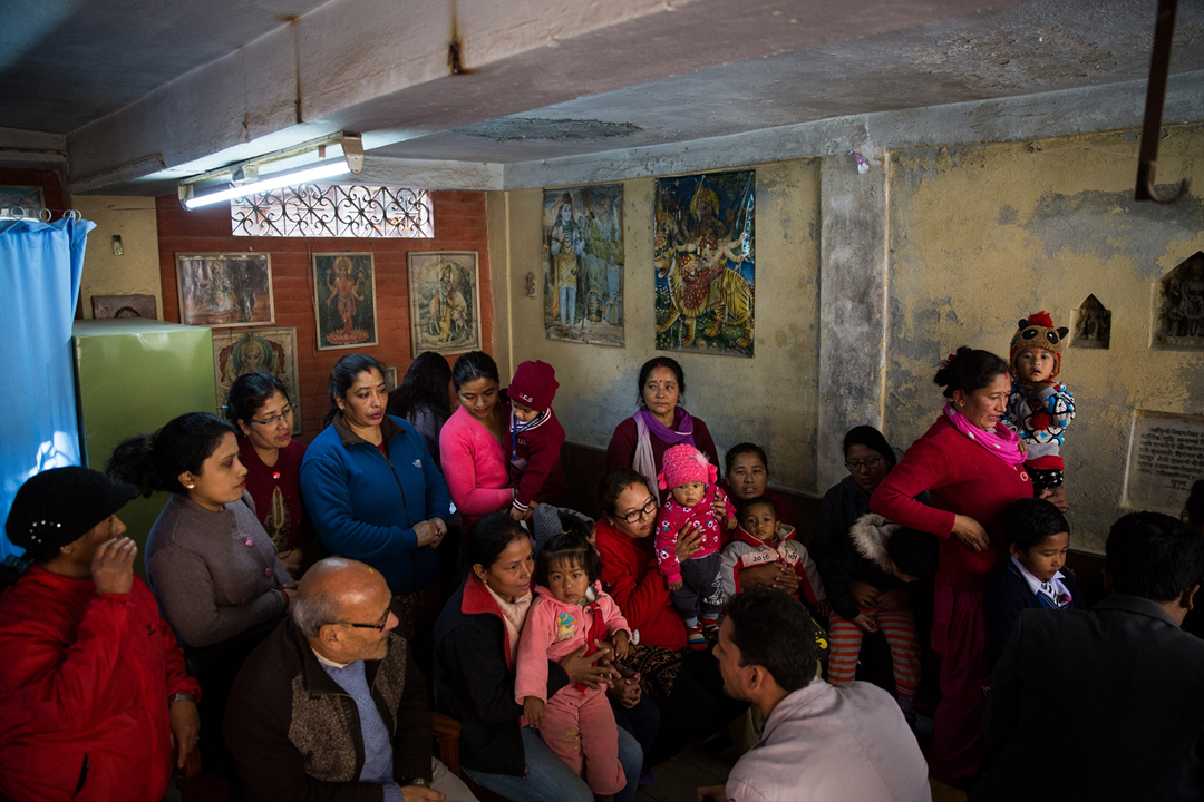Families eager to participate in the study and have their child vaccinated wait in a clinic during the first day of the trial. Children and adolescents younger than 15 years of age are disproportionately impacted by typhoid.