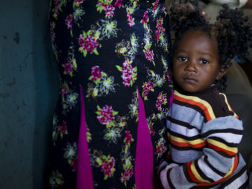 Young girl in waiting room in Zambia