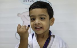 Child received typhoid conjugate vaccine in Sindh province, Pakistan