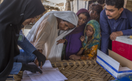 Family with a vaccinator during the drug-resistant typhoid outbreak response campaign